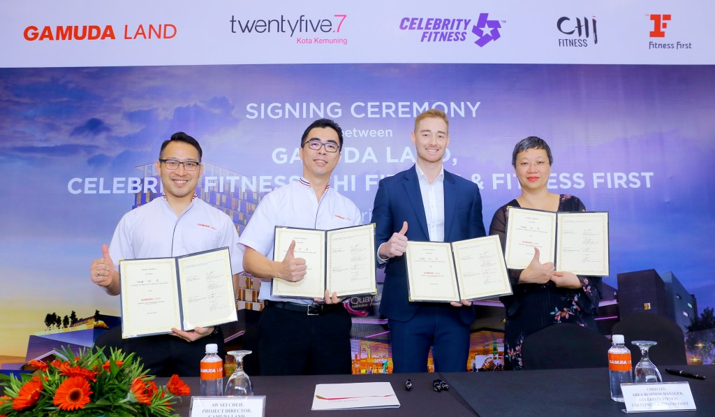 (From left) twentyfive.7 general manager Chu Wai Lune, Gamuda Land project director Aw Sei Cheh, Celebrity Fitness, CHi Fitness & Fitness First Malaysia of Evolution Wellness area business manager Chris Lee and finance director Audrey Lee Pik Yoo.