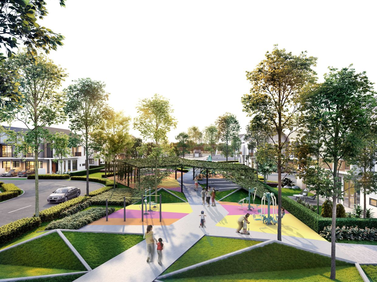 Linear park adds a breath of greenery within the residential enclave.