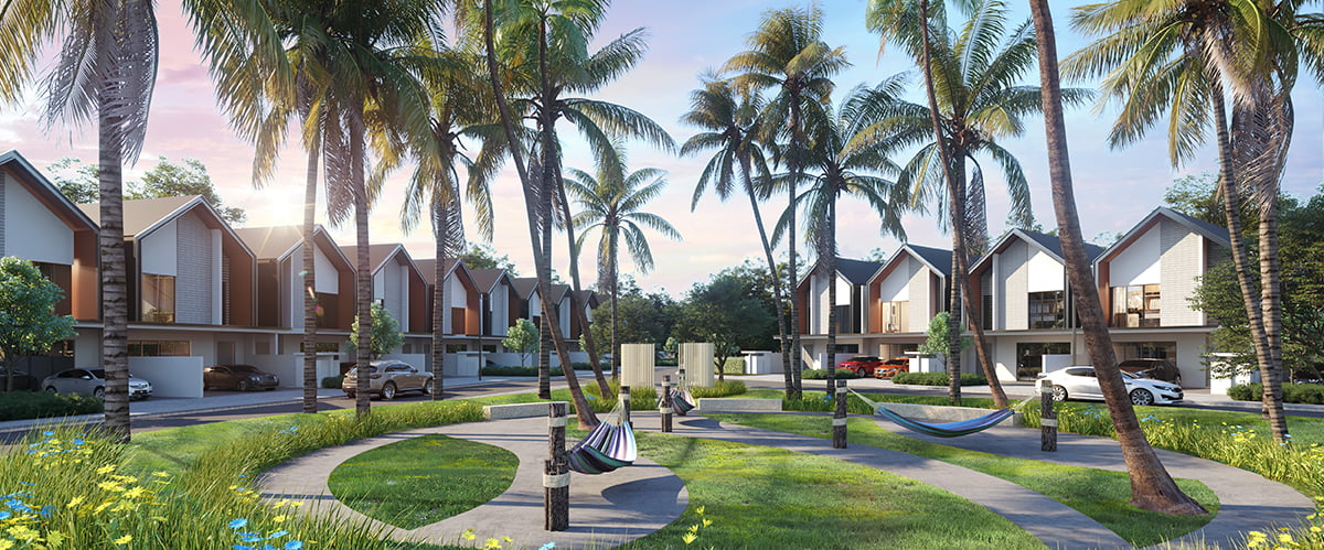 Palma Sands offers a beach resort style living amidst tropical-inspired landscapes at Gamuda Cove.
