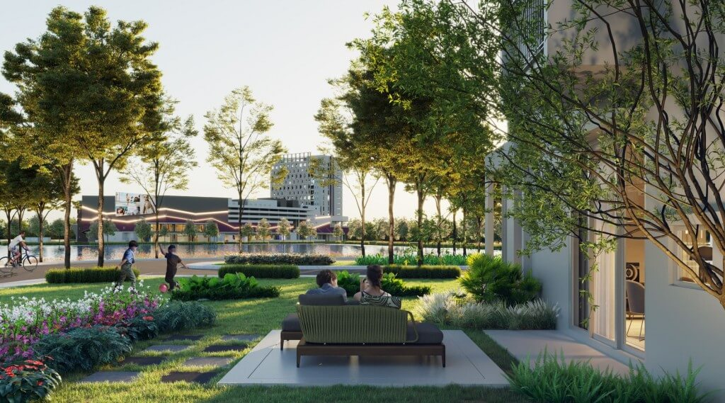 The home place, shopping and eating place, and park place are thoughtfully laid out to be easily accessible by biking and walking.