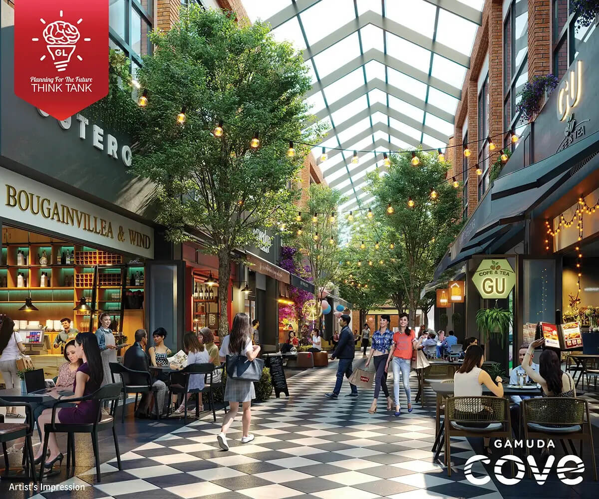 Gamuda Cove's Townsquare offers many trendy F&B spots where remote workers can set up shop.